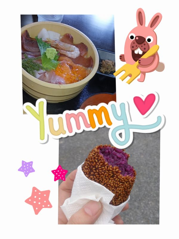伊良部の海の幸and紅芋餅